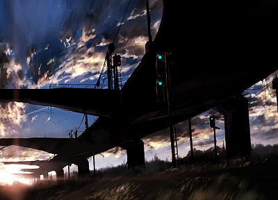 sunset, clouds, Makoto Shinkai, scenic, 5 Centimeters Per Second, skyscapes - desktop wallpaper