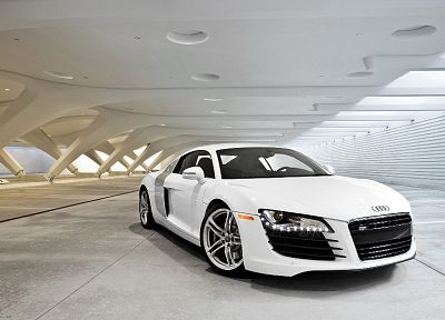 cars, Audi, Audi R8, white cars, German cars - random desktop wallpaper