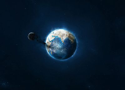 blue, black, outer space, stars, planets, Moon, Earth - desktop wallpaper