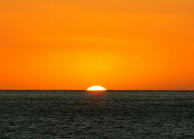sunset, landscapes, nature, orange, sea - related desktop wallpaper