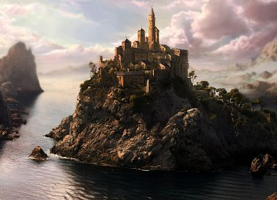 water, castles, fantasy art, patrick, rock islands - related desktop wallpaper