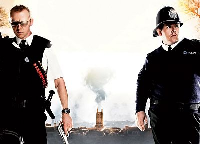 movies, Hot Fuzz, Simon Pegg, Nick Frost - related desktop wallpaper