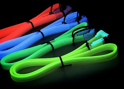 multicolor, cables, black background, flourescent, SATA cables - related desktop wallpaper