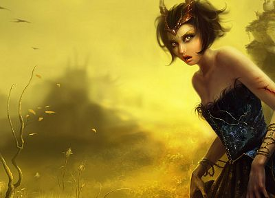 women, fantasy, blood, artwork, daemon - desktop wallpaper