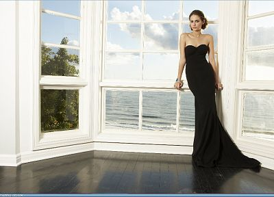 models, green eyes, Willa Holland, black dress, window panes - desktop wallpaper