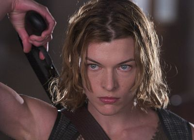 actress, Resident Evil, shotguns, Alice, Milla Jovovich - random desktop wallpaper