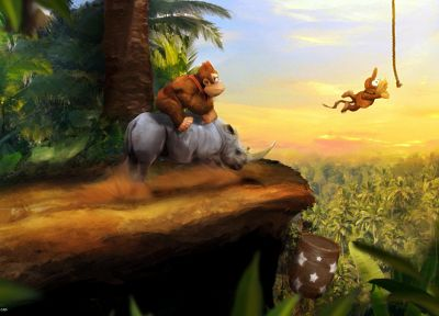 Donkey Kong, Donkey Kong Country, Diddy Kong - random desktop wallpaper