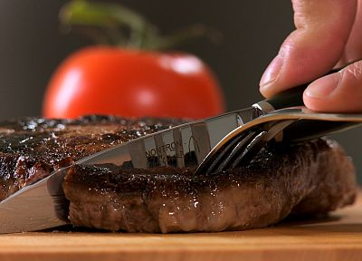 food, knives, objects, forks, tomatoes, steak - related desktop wallpaper