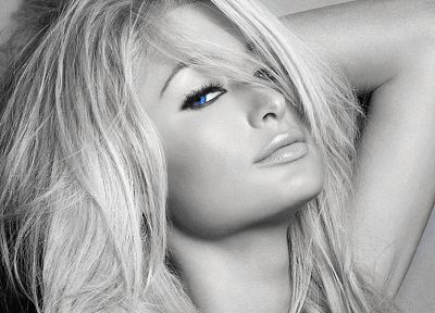 blondes, women, Paris Hilton, grayscale, monochrome - desktop wallpaper