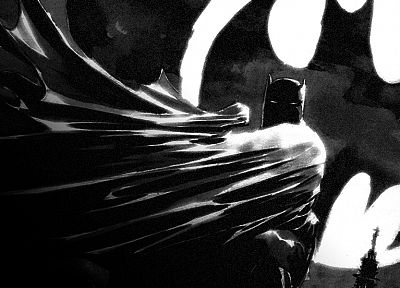 Batman, DC Comics, grayscale - random desktop wallpaper