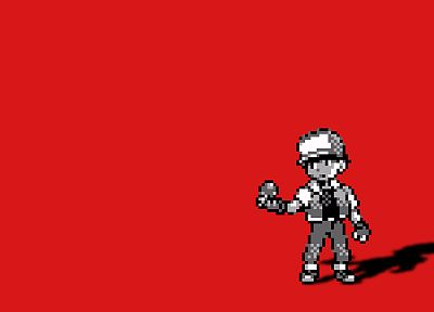 Pokemon, red, anime, red background - desktop wallpaper