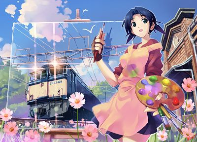 women, train stations, Vania600, original characters - desktop wallpaper
