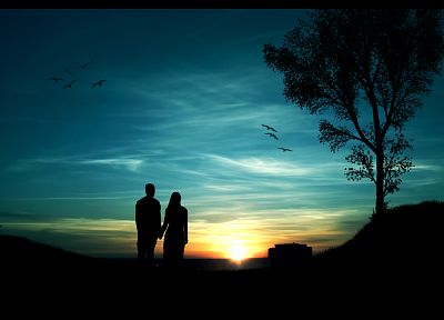 sunset, minimalistic, trees, silhouettes, couple, romantic, blue skies - related desktop wallpaper