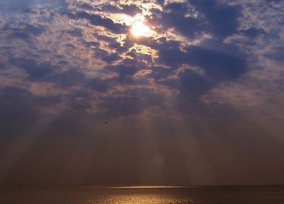 clouds, Sun, skyscapes, reflections, sea - desktop wallpaper
