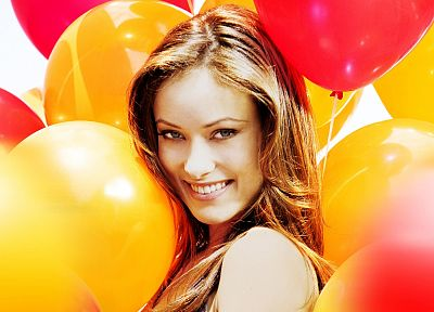 women, actress, models, Olivia Wilde, celebrity, balloons - desktop wallpaper