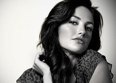women, Minka Kelly, monochrome, faces, greyscale - desktop wallpaper