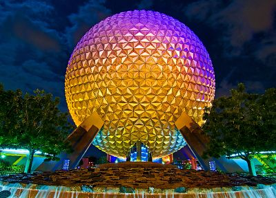 Disney Company, night, epcot - desktop wallpaper