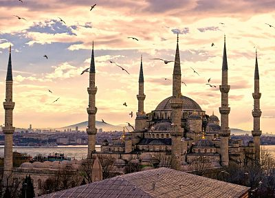 sunset, District, Turkey, Istanbul, Blue Mosque, Sultanahmet - related desktop wallpaper
