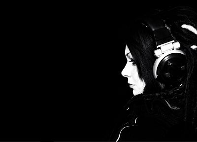 headphones, women, black, black background - related desktop wallpaper