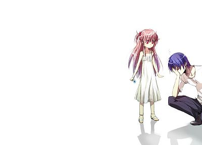 Angel Beats!, blue hair, pink hair, simple background, Yui (Angel Beats), Hideki Hinata - desktop wallpaper