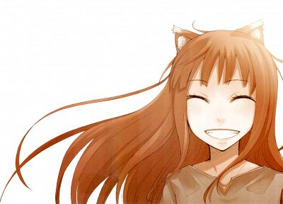 Spice and Wolf, animal ears, smiling, closed eyes, Holo The Wise Wolf, simple background, inumimi - related desktop wallpaper