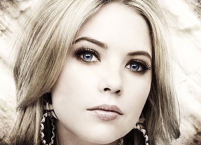 blondes, women, eyes, models, lips, Pretty Little Liars, selective coloring, Ashley Benson - related desktop wallpaper