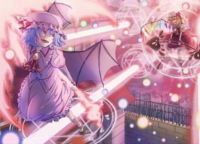 video games, Touhou, vampires, Flandre Scarlet, Remilia Scarlet - desktop wallpaper