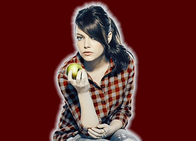 brunettes, women, Emma Stone, SNL, apples, red background - desktop wallpaper