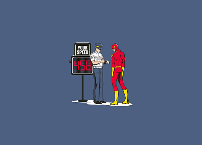 minimalistic, DC Comics, superheroes, police, funny, The Flash, Flash (superhero) - desktop wallpaper