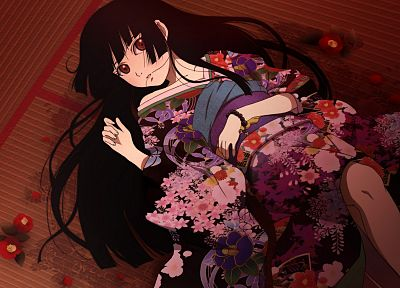 brunettes, dress, Jigoku Shoujo, black eyes, red eyes, Enma Ai, Japanese clothes, anime girls - related desktop wallpaper
