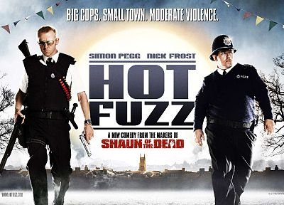 guns, Hot Fuzz, Simon Pegg, Nick Frost, movie posters - related desktop wallpaper