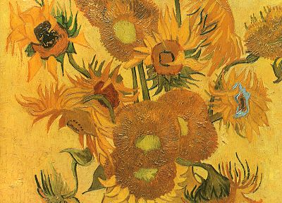 Vincent Van Gogh, artwork, sunflowers, wall painting - desktop wallpaper
