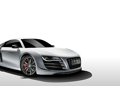 white, cars, Germany, gray, vectors, Audi, Audi R8, Audi R8 Razor GTR - related desktop wallpaper