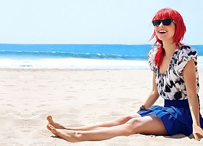 Hayley Williams, women, sand, redheads, sunglasses, smiling, beaches - desktop wallpaper