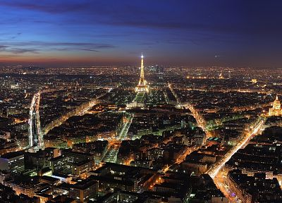Paris, cityscapes, skylines, night, architecture, France, buildings, Europe - desktop wallpaper
