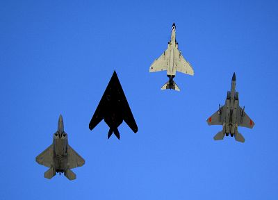 aircraft, military, F-22 Raptor, F-4 Phantom II, F-15 Eagle, Lockheed F-117 Nighthawk - desktop wallpaper